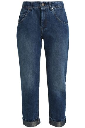BRUNELLO CUCINELLI Cropped faded boyfriend jeans