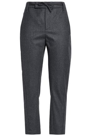 BRUNELLO CUCINELLI Bow-detailed mélange twill tapered pants