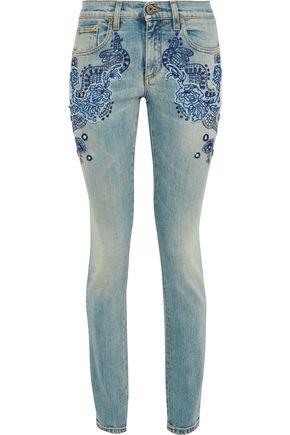 ROBERTO CAVALLI Embroidered distressed mid-rise skinny jeans