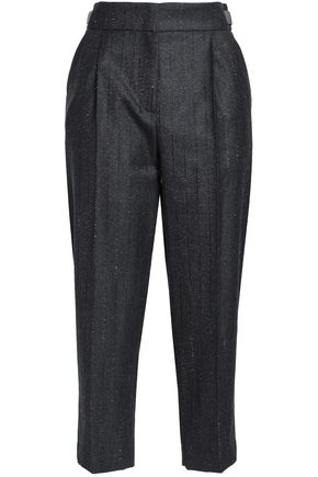 BRUNELLO CUCINELLI Cropped bead-embellished wool-twill tapered pants