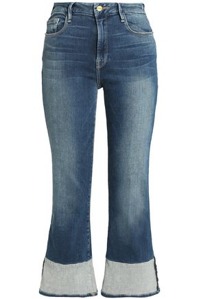 FRAME Faded mid-rise straight-leg jeans