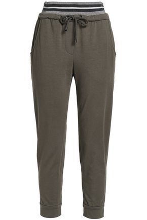 BRUNELLO CUCINELLI Metallic-trimmed French cotton-blend terry track pants