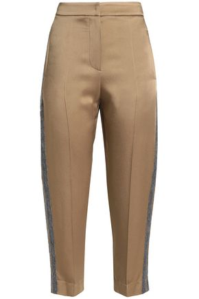 BRUNELLO CUCINELLI Striped wool-trimmed satin-crepe tapered pants