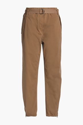BRUNELLO CUCINELLI Belted cotton-blend will tapered pants