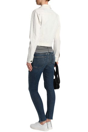 FRAME Le High distressed mid-rise skinny jeans