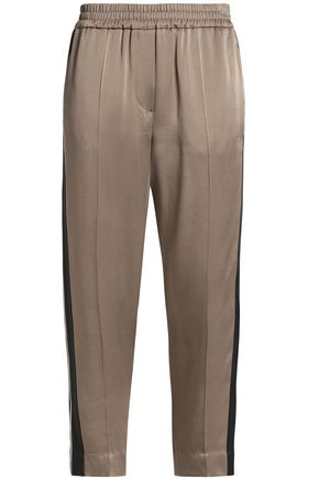 BRUNELLO CUCINELLI Striped cropped crepe-satin tapered pants