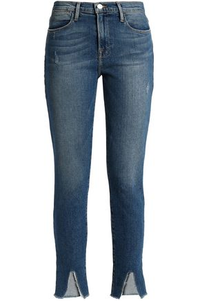 FRAME Frayed distressed mid-rise skinny jeans