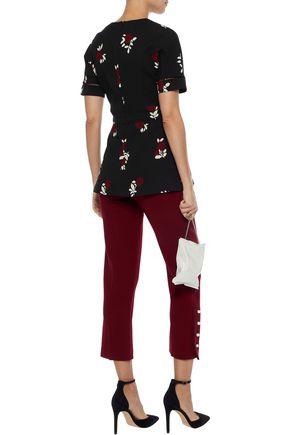 LELA ROSE Faux pearl-embellished wool-blend crepe straight-leg pants