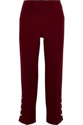 LELA ROSE Faux pearl-embellished wool-blend crepe straight-leg pants