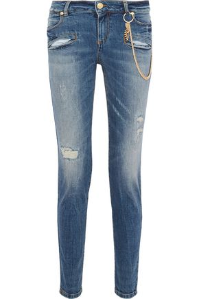 PIERRE BALMAIN Embellished distressed mid-rise skinny jeans
