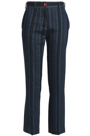 ACNE STUDIOS Striped wool, linen and cotton-blend straight-leg pants