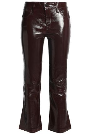 RTA Kiki coated crinkled-leather kick-flare pants