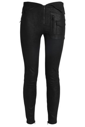 RTA Zip-detailed suede skinny pants