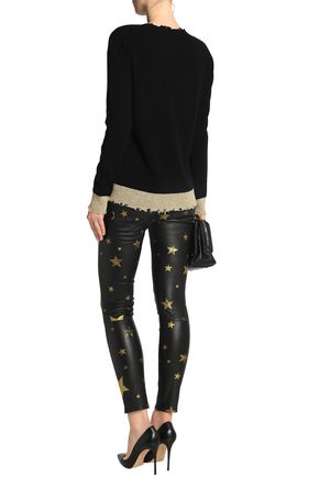 RTA Printed leather skinny pants
