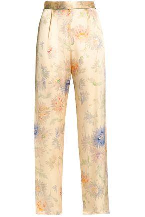 1e05b84606 ANNA SUI WOMAN FLORAL-PRINT SILK-SATIN STRAIGHT-LEG PANTS IVORY
