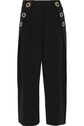 DEREK LAM 10 CROSBY Eyelet-embellished crepe culottes