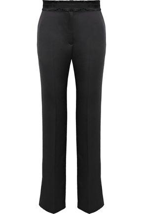 SANDRO Kimiko grosgrain-trimmed satin straight-leg pants
