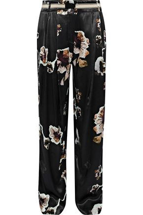 BY MALENE BIRGER Belted floral-print satin straight-leg pants