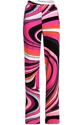 EMILIO PUCCI Striped printed velvet wide-leg pants