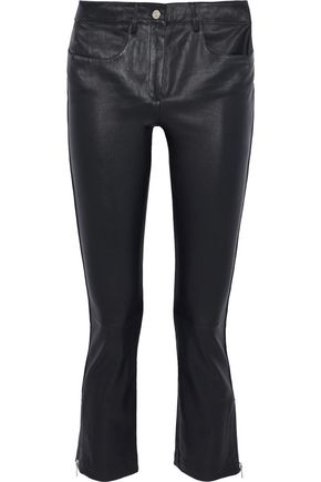 MAJE Cropped leather slim-leg pants