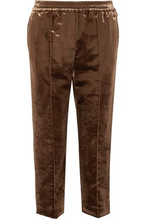 BRUNELLO CUCINELLI Cropped cotton-blend crushed-velvet straight-leg pants
