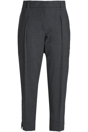 BRUNELLO CUCINELLI Cropped mélange wool-blend tapered pants