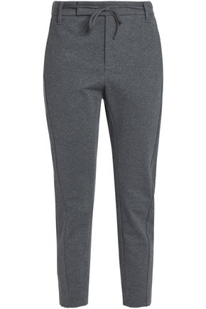 BRUNELLO CUCINELLI Cropped mélange stretch-cotton jersey tapered pants