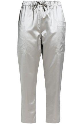 BRUNELLO CUCINELLI Cotton and silk-blend satin track pants