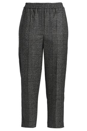 BRUNELLO CUCINELLI Cropped checked  bead-embellished wool straight-leg pants