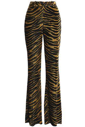 ROBERTO CAVALLI Zebra-print velvet flared pants