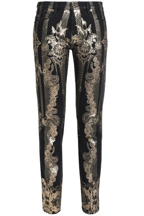 ee3c5e0435e2d Printed mid-rise skinny jeans | ROBERTO CAVALLI | Sale up to 70% off ...