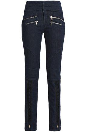 ROBERTO CAVALLI Zip-detailed high-rise skinny jeans