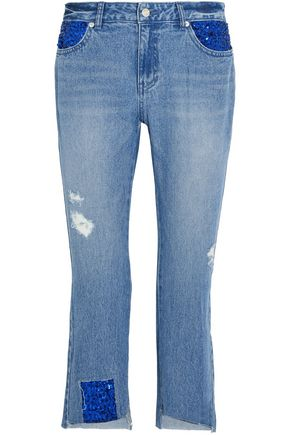 STEVE J & YONI P Distressed embellished low-rise straight-leg jeans