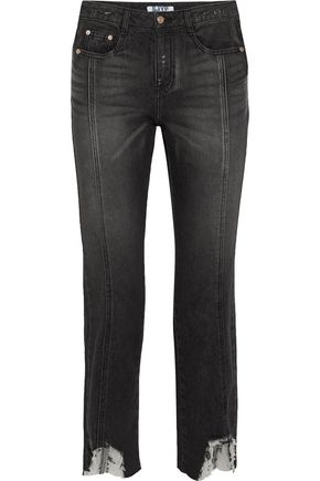 STEVE J & YONI P Distressed mid-rise slim-leg jeans
