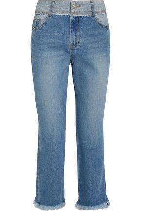 STEVE J & YONI P Frayed faded mid-rise slim-leg jeans