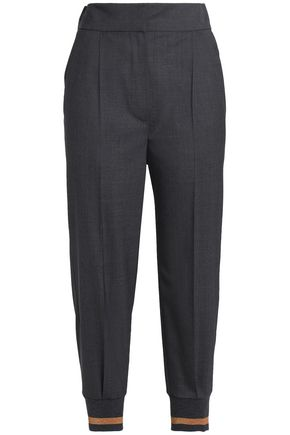BRUNELLO CUCINELLI Metallic-trimmed wool tapered pants