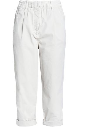 BRUNELLO CUCINELLI Cropped cotton-blend twill straight-leg pants