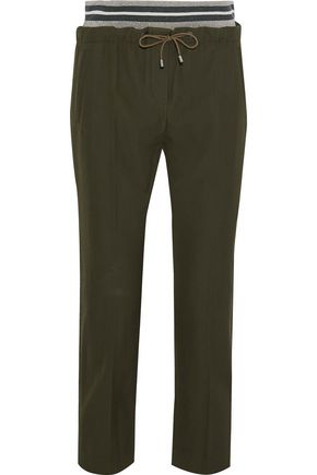 BRUNELLO CUCINELLI Cropped wool and cotton-blend track pants