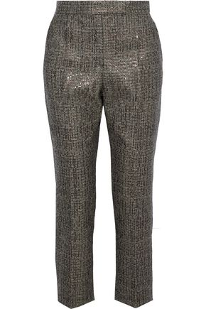 BRUNELLO CUCINELLI Sequin-embellished wool-tweed straight-leg pants