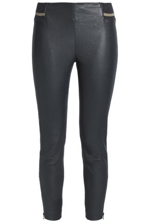 BRUNELLO CUCINELLI Ribbed knit-trimmed stretch-leather leggings