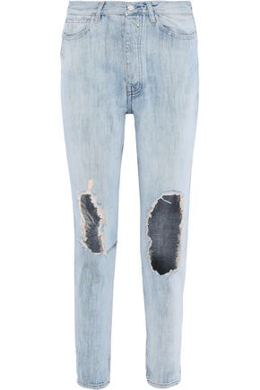 IRO Barbara distressed high-rise straight-leg jeans