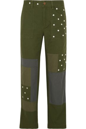 J.CREW Patchwork embroidered cotton straight-leg pants