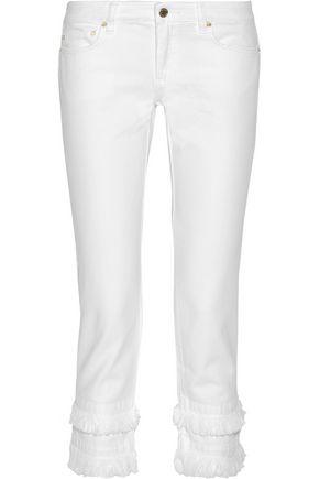 MICHAEL MICHAEL KORS Fringe-trimmed low-rise slim-leg jeans