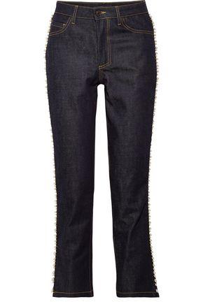 PAUL & JOE Faux pearl-embellished mid-rise straight-leg jeans