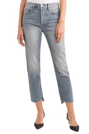FRAME Cropped faded mid-rise slim-leg jeans