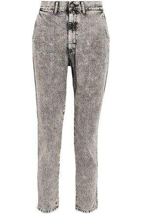 BASSIKE Faded mid-rise straight-leg jeans