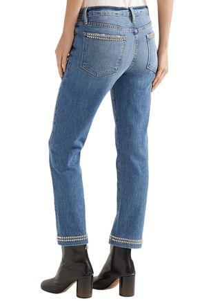 FRAME Studded low-rise slim-leg jeans