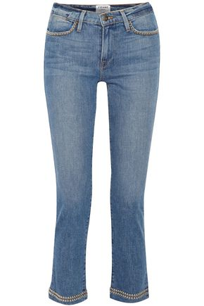 FRAME Studded low-rise slim-leg jeans