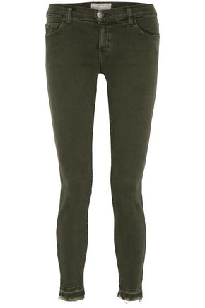 CURRENT/ELLIOTT Frayed low-rise skinny jeans