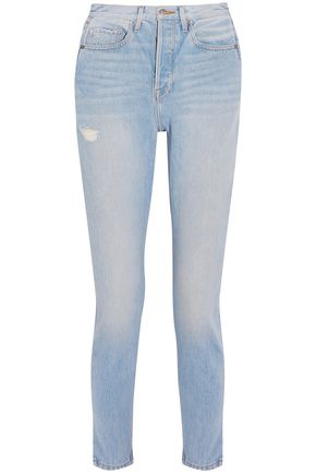 FRAME Distressed faded high-rise slim-leg jeans